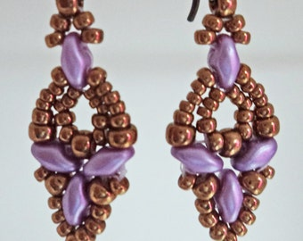 Lavender and Bronze Elinor Dangle Earrings