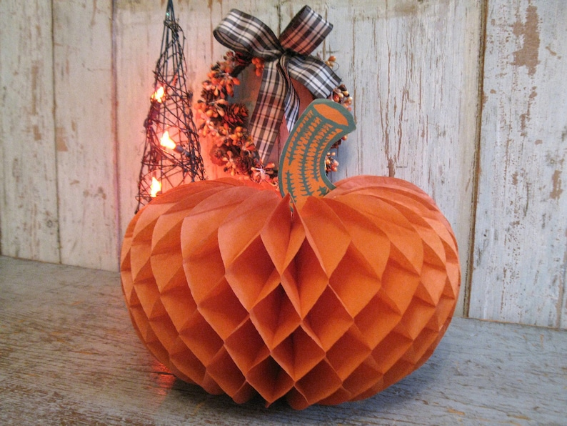 Vintage Paper Pumpkin Halloween Decor 1950s Honeycomb Etsy