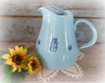 vintage blue cronin pitcher with tulips croninware cronin vase blue pitcher cottage decor vintage home decor