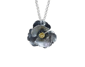 Oxidized sterling silver poppy pendant necklace