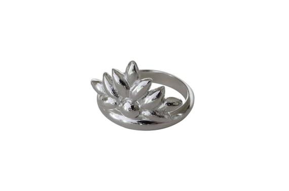 Rings LW 16-17mm Antique Silver Flower Rings AG58 Antique Silver Adjustable Ring Leaves Ring Silver Leaf Ring Silver Laurel Ring