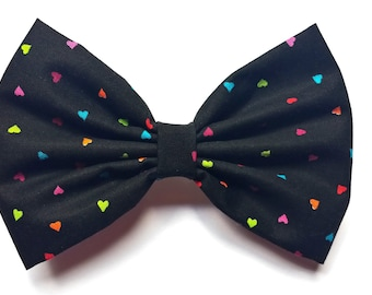 black hair bow with colorful hearts