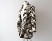 Vintage Giorgi Sant Angelo Houndstooth Wool Boyfriend Blazer / Oversized Black and Ivory Jacket