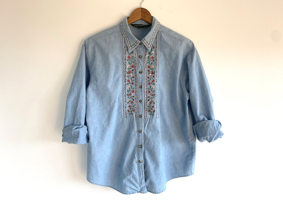 Vintage Embroidered Cotton Chambray Shirt / 1980s… - image 1