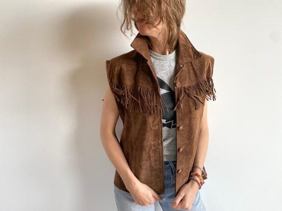 Vintage Brown Fringe Suede Vest / 1990s / 90s Brow