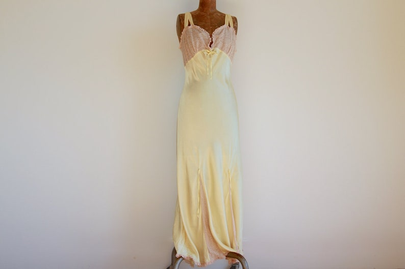 b73cf3a67d4 1930s Orchid Lingerie Pale Yellow Silk Satin and Peach Lace