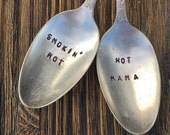 Silver Plate Hand Stamp Serving Spoons Perfect Hostess Gift