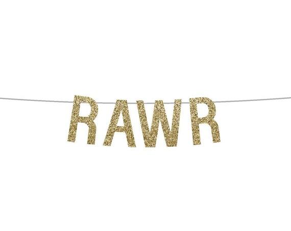 RAWR - Glitter Banner - Dinosaur Bday. Glitter Sign. Glitter Birthday Party Banner. First Birthday Party. Wild One. Dinosaur Party.