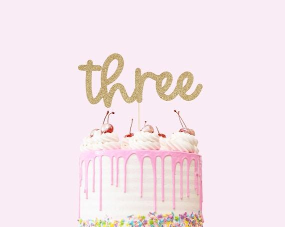 Three Cake Topper - Glitter - Third Birthday. Birthday Cake Topper. Third Birthday Cake. Birthday Party. 3rd Birthday Party Decorations.