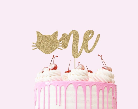 Cat One Cake Topper - Glitter - First Birthday. Smash Cake Topper. Birthday Party. First Birthday. 1st Birthday. First Year. Cat Theme Party