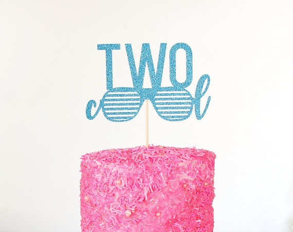 Two Cool Cake Topper - Glitter - Second Birthday. Birthday Cake Topper. Smash Cake Topper. Birthday Party. 2nd Birthday Party.