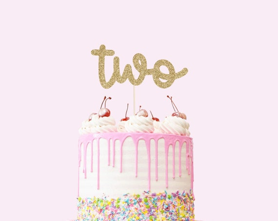 Two Cake Topper - Glitter - Second Birthday Cake Topper. 2nd Birthday. Number Cake Sign. Second Birthday Decorations. Turning Two.