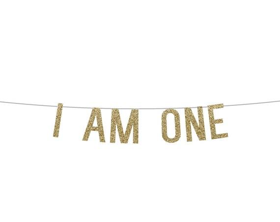 I AM ONE - Glitter Banner - Birthday Party. Glitter Sign. Birthday Party Decor. Glitter Party Banner. First Birthday Party. Wild One.