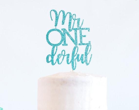 Mr Onederful Cake Topper - Glitter - 1st Birthday. Smash Cake Topper. First Birthday Boy. Cake Topper Boy. 1st Birthday Decor. Boy Party.