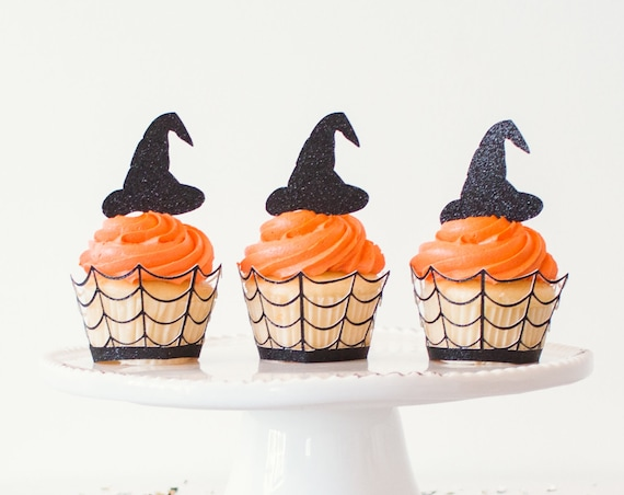Witch Hat Cupcake Toppers - Halloween Party Decorations. Halloween Cupcake Toppers.  Halloween Party Supplies.