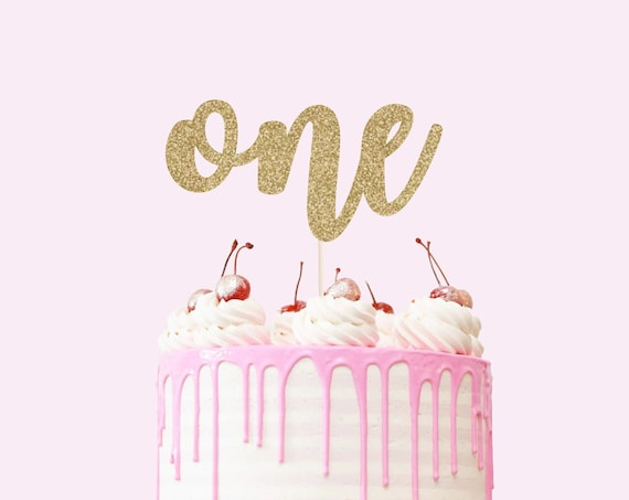One Cake Topper - Glitter - First Birthday Smash Cake Topper - 1st Birthday Decorations - First Birthday Party