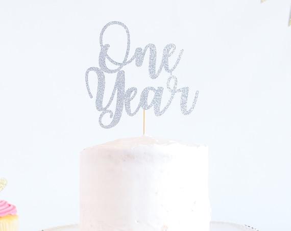 One Year Cake Topper - Glitter - 1st Birthday. Smash Cake Topper. Birthday Party. First Birthday. Birthday Cake Topper. 1st Birthday Decor.