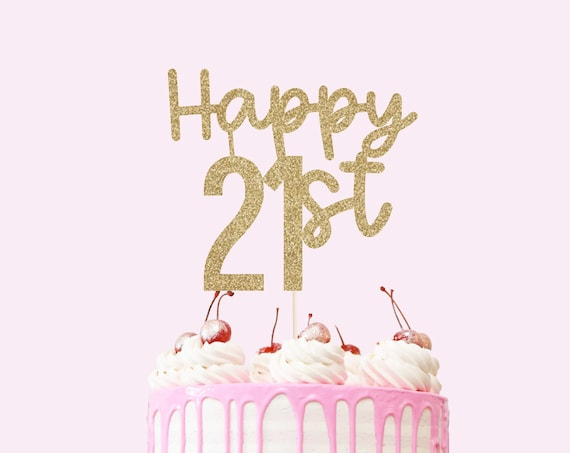 Happy 21st Cake Topper - Glitter Cardstock - 21st Birthday Cake. Birthday Party Decor. 21st Birthday Decorations for Her.