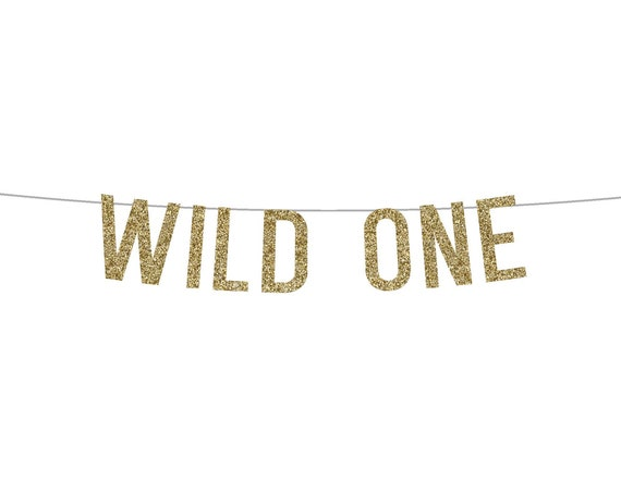 WILD ONE - Glitter Banner - Birthday Party. Glitter Sign. Birthday Party Decor. Glitter Party Banner. First Birthday Party. One Wild Year.