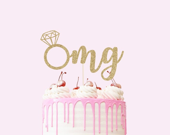 OMG Engagement Cake Topper - Glitter - Bridal Shower Cake Topper. Wedding Cake Topper. Engagement Party. Bachelorette Party Decor.