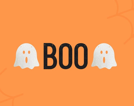 BOO Halloween Party Banner with ghosts