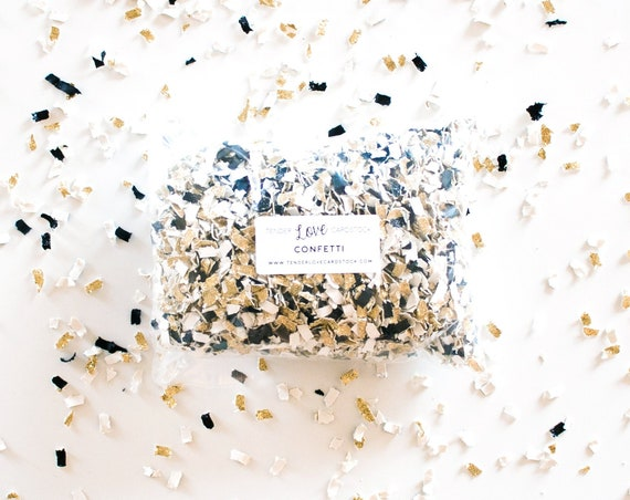 Black + Gold + White Confetti