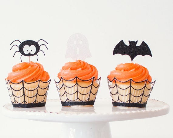 Bats + Spiders + Ghost Cupcake Topper Set - Glitter - 12 Toppers - Halloween Party Decorations. Halloween Cupcake Toppers.
