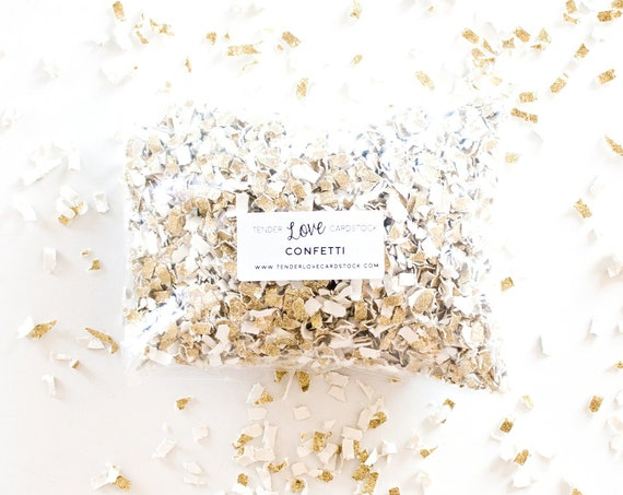 Tossing Confetti - Gold Glitter + White