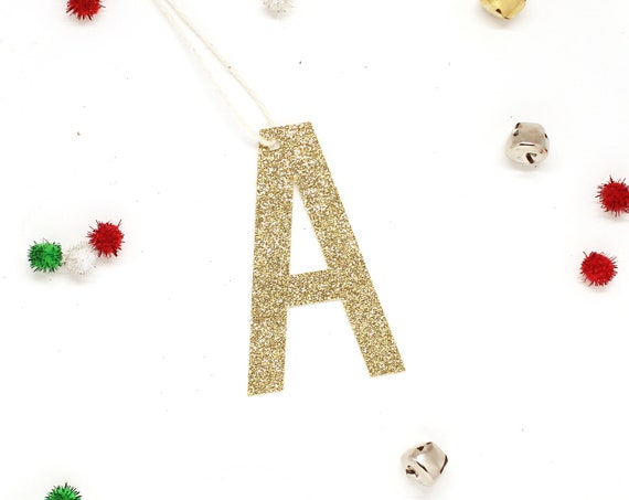 Letter Gift Tag - Glitter - Initial Gift Tag - Glitter Gift Tag - Stocking Tags - Custom Gift Wrapping Ideas - Custom Letter Gift Tags