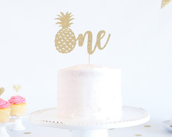 One Cake Topper with Pineapple - Glitter - First Birthday. One Cake Topper. Smash Cake Topper. 1st Birthday. Tropical First Birthday Theme.