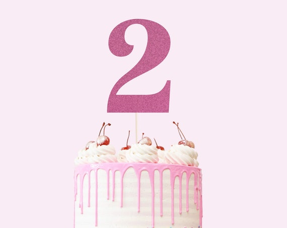 Number 2 Cake Topper - Glitter - Second Birthday Cake Topper. 2nd Birthday. Number Cake Sign. Second Birthday Decorations. Turning Two.