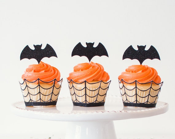 Bat Cupcake Toppers - Black Glitter - 12 Toppers - Halloween Party Decorations. Halloween Cupcake Toppers. Halloween Wedding. Bat Decor.