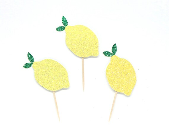 Lemon Cupcake Toppers - Glitter - Tropical First Birthday - Fiesta Decorations - Lemon First Birthday - Fiesta Theme - Lemon Smash Cake.