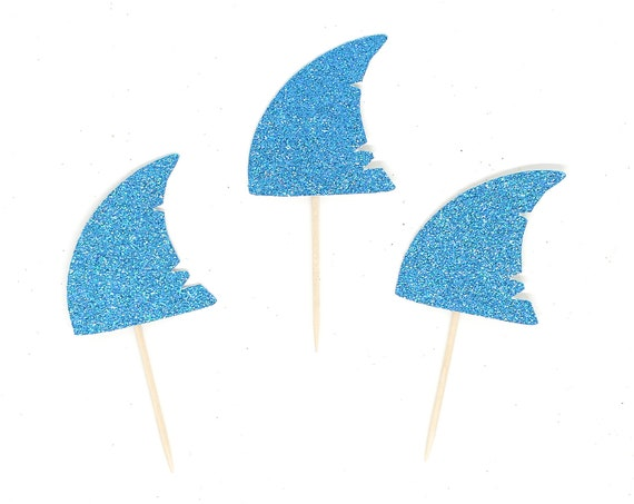 Shark Fin Cupcake Toppers - Glitter - First Birthday Decor. Under the Sea Birthday Party Decor. Shark Party Decorations.