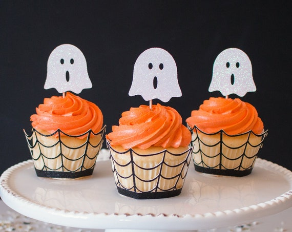 Ghost Cupcake Toppers - Halloween Party Decorations. Halloween Cupcake Toppers.  Ghost Party Decor. Halloween Party Supplies.