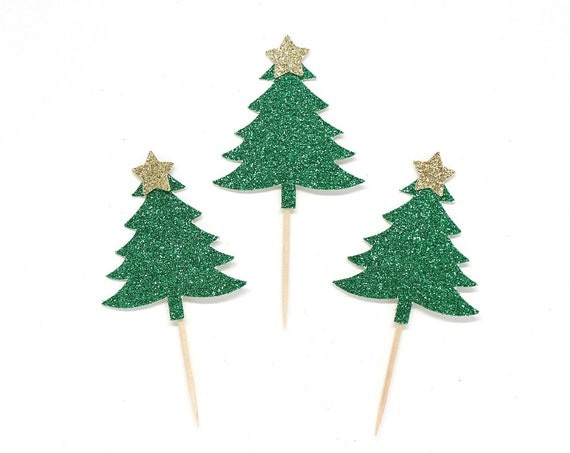 Christmas Tree Cupcake Toppers - Glitter - Holiday Party Decorations. Christmas Baking Picks. Christmas Tree Cupcakes.