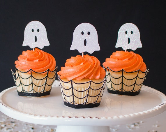 Ghost Cupcake Toppers - White Glitter - 12 Toppers - Halloween Party Decorations. Halloween Cupcake Toppers. Spooky Party Decor.