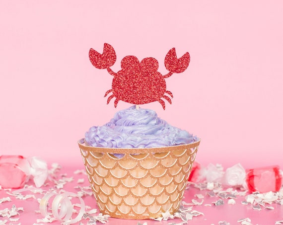 Crab Cupcake Toppers - Glitter - Under the Sea Party. Ocean Theme Party. Crab Party Decorations. Crab Party Supplies.