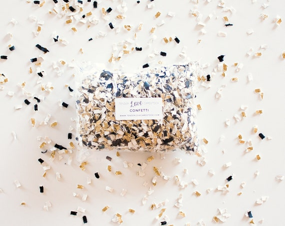 Black Tie Confetti - Black + Gold + White --- Tossing Confetti - Table Scatter - Piñata Filler - Basket Fill - Baby Shower - Confetti Toss