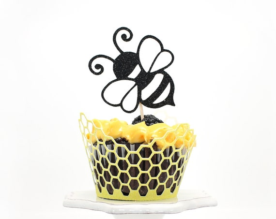 Bee Cupcake Toppers - Glitter - Bumble Bee Birthday. Bee Party Decor. What Will It Bee Baby Shower. Mommy to Bee Party. 1st Bee Day.