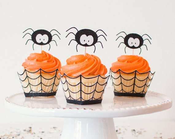 Spider Cupcake Toppers - Black Glitter - 12 Toppers - Halloween Party Decorations. Halloween Cupcake Toppers. Spider Party.