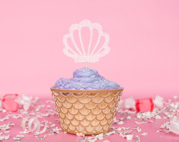 Shell Cupcake Toppers - Glitter