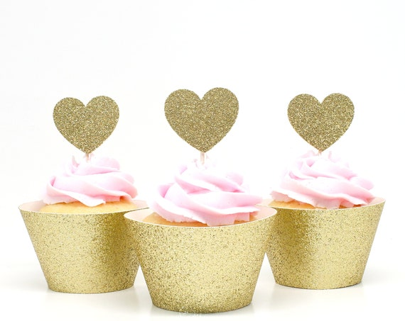 Heart Cupcake Toppers - Gold Glitter - First Birthday Party. Bridal Shower Decor. Wedding Cupcakes. Anniversary. Valentines Day.