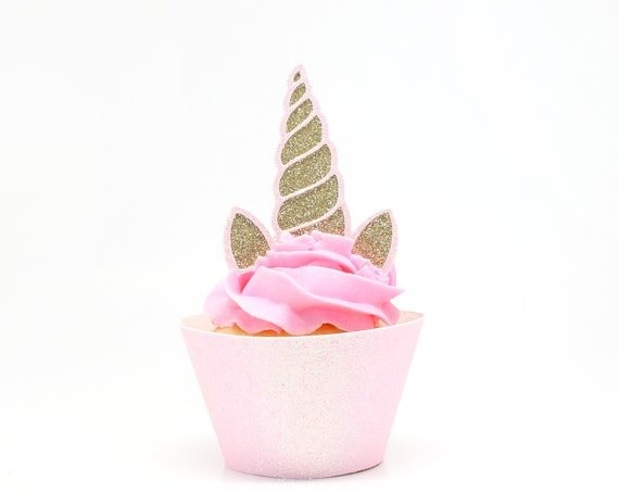 Unicorn Horn + Ears Cupcake Toppers - Gold + Light Pink Glitter - First Birthday Decor. Unicorn Party Decor. Birthday. Birthday Party Decor.