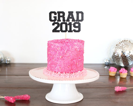 Grad 2019 Cake Topper - Glitter - Graduation Cake Topper. Grad 2019. Graduation Party Decorations. Grad Party Decor. Graduation Centerpiece.