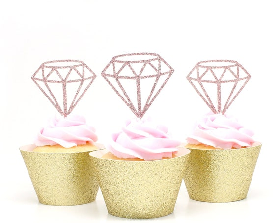 Diamond Cupcake Toppers - Blush Pink Glitter