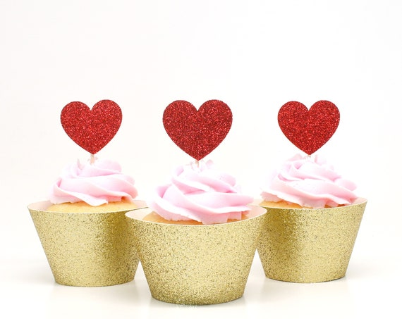 Heart Cupcake Toppers - Red Glitter - First Birthday Party. Bridal Shower Decor. Wedding Cupcakes. Anniversary. Valentines Day.