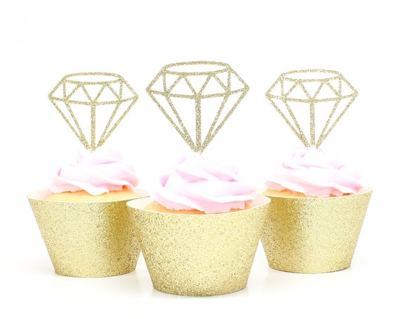 Diamond Cupcake Toppers - Gold Glitter - Bachelorette Party Decorations. Bridal Shower Decor. Diamond Ring Cupcake Toppers.