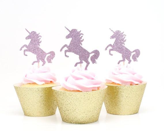Unicorn Cupcake Toppers - Lavender Glitter