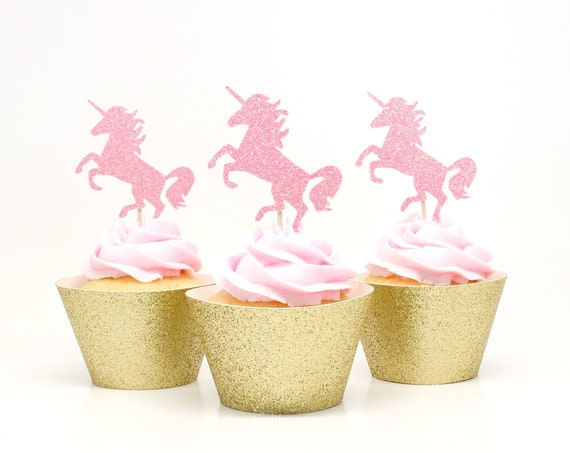 Unicorn Cupcake Toppers - Neon Pink Glitter